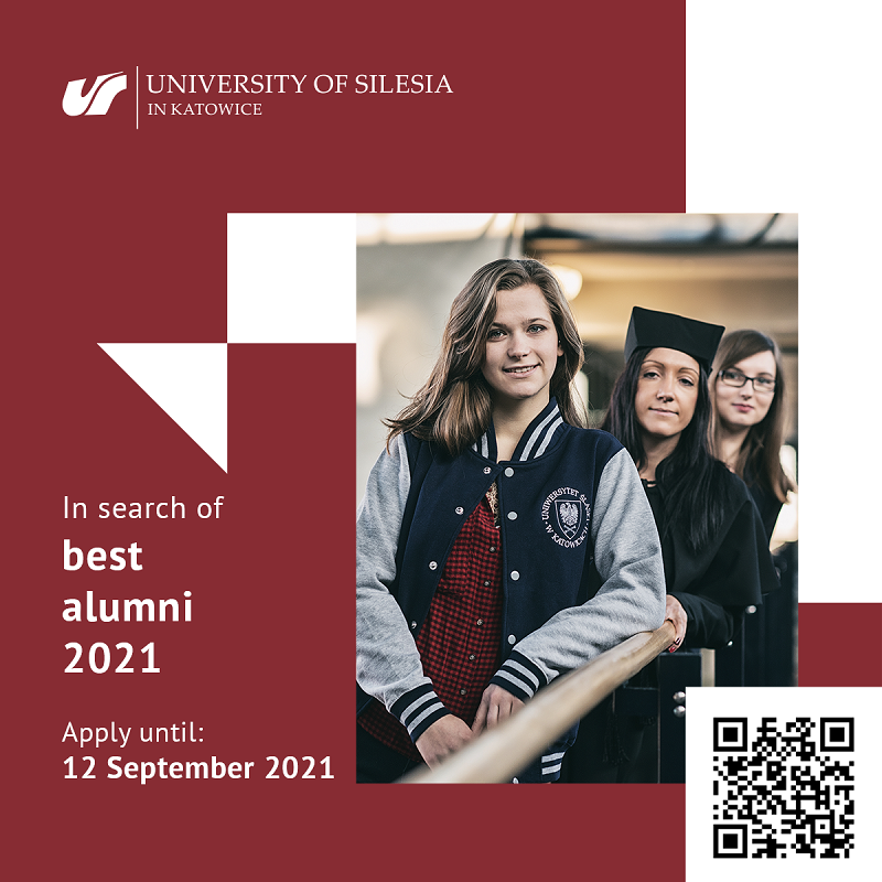 Graphics promoting the event with a QR code. In the photo there are three smiling students. Signature: University of Silesia Katowice. In search of best alumni 2021. Apply until: 12 September 2021