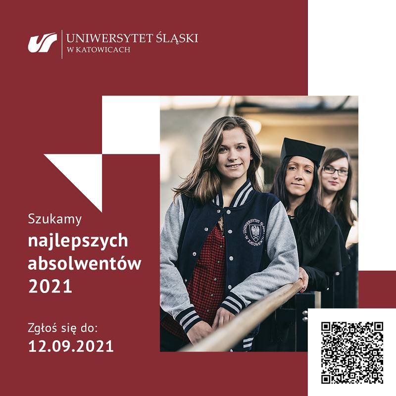 Grafika promująca wydarzenie z kodem QR. Na zdjęciu trzy uśmiechnięte studentki. Podpis: Szukamy najlepszych absolwentów 2021. Zgłoś się do 12.09.2021.