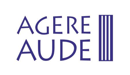 Logo Fundacji Agere Aude, napis Agere Aude oraz kolumna w kolorze granatowym