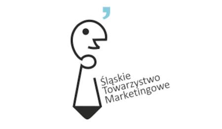 Logo Śląskiego Towarzystwa Marketingowego, graficzne wyobrażenie człowieka z krawatem
