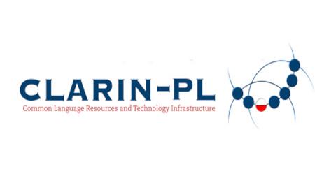 Logo CLARIN PL, napis w kolorze granatowym i zestaw figur geometrycznych w formie półokręgu