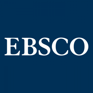 logo EBSCO białe na granatowym tle