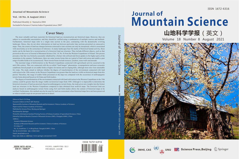 """Opis przeprowadzonych badań na okładce czasopisma """"Journal of Mountain Science"""""""
