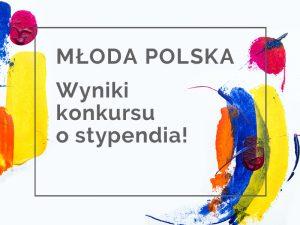 "plakat konkursu stypendialnego ""Młoda Polska"""