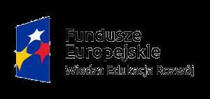 Przedstawia logo Funduszu Europejskiego, obok widnieje napisz Fundusze Europejskie Wiedza Edukacja Rozwój