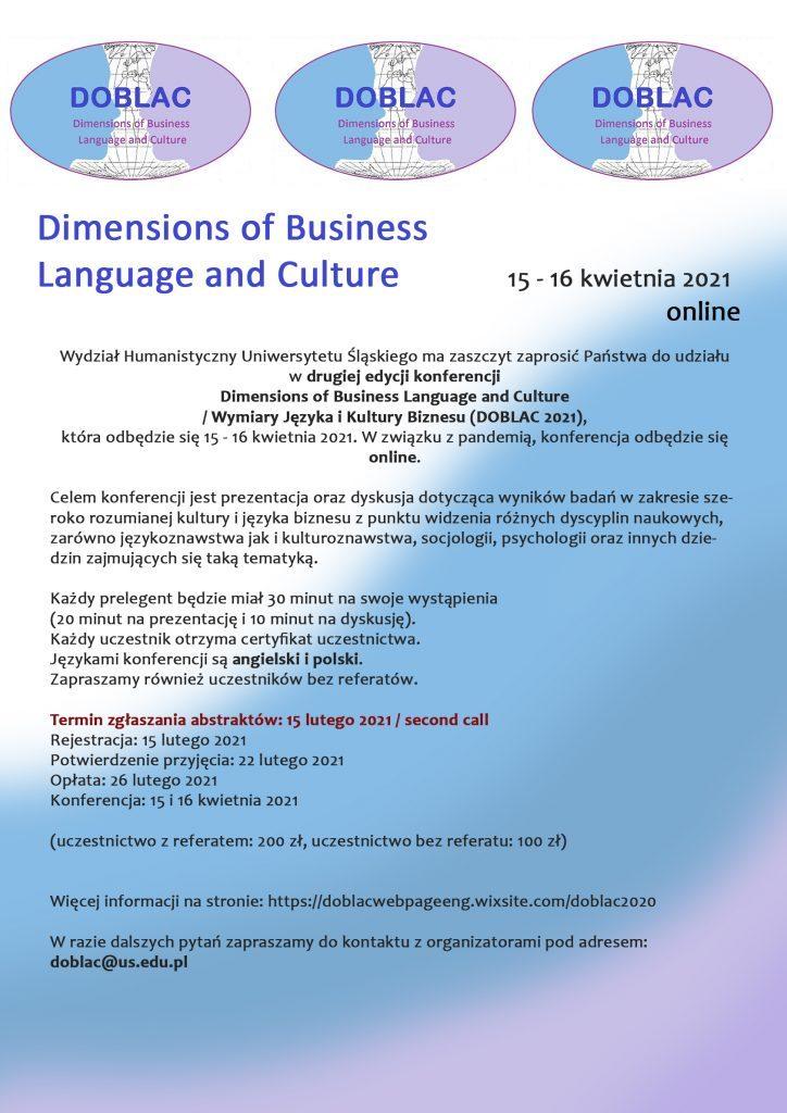 [ONLINE] Druga edycja konferencji Dimensions of Business Language and Culture / Wymiary Języka i Kultury Biznesu