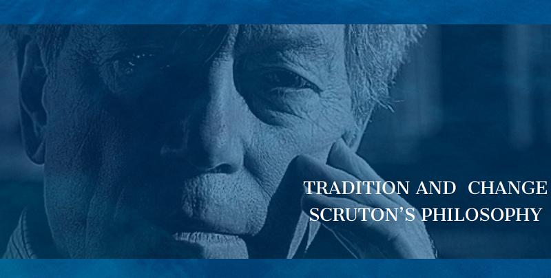 Na dole tekst: Tradition and Change. Scruton's Philosophy. W tle zbliżenie twarzy mężczyzny - Rogera Scrutona.