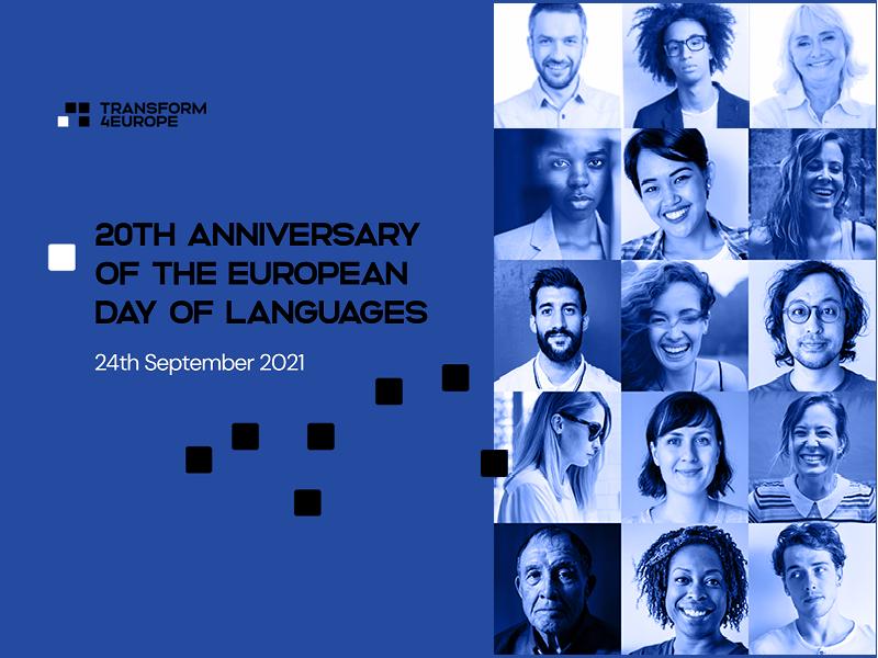 Twarze ludzi i napis Europejski Dzień Języków