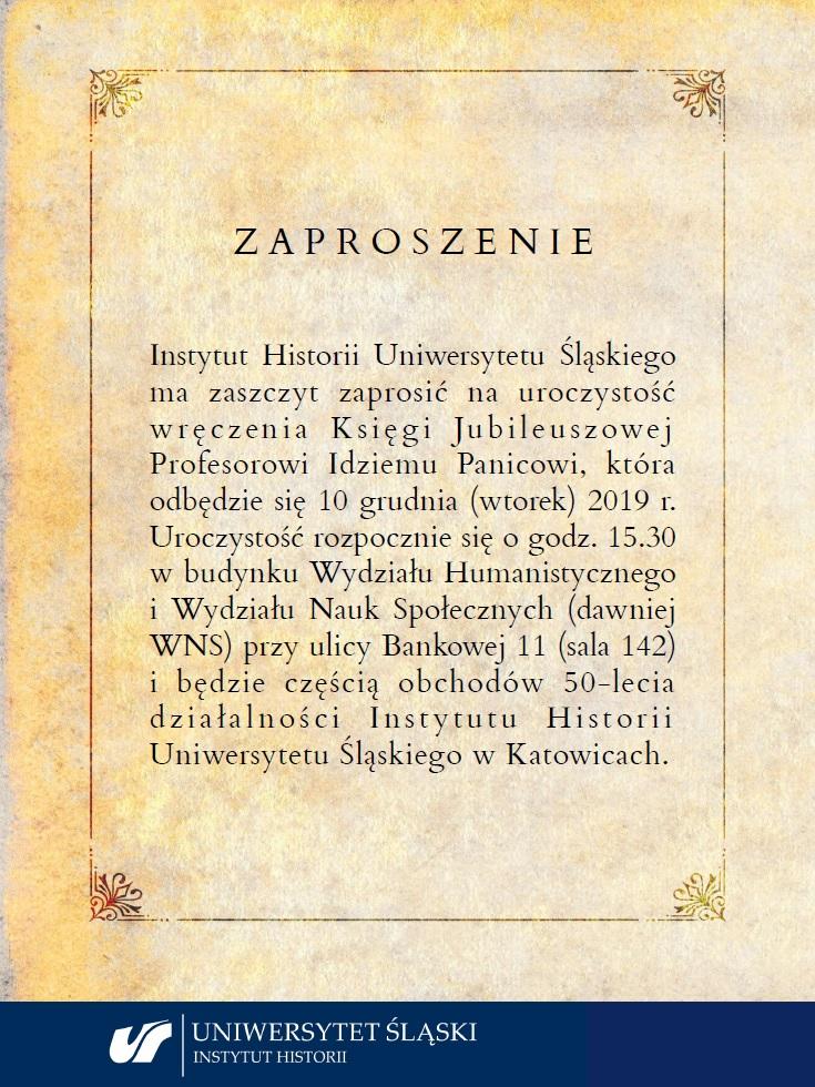 plakat: zaproszenie na jubileusz Instytutu Historii UŚ
