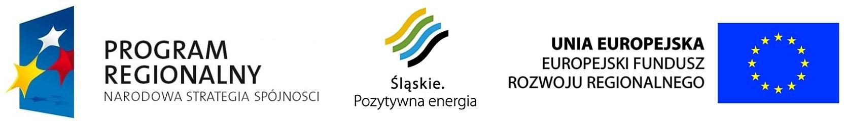logo Programu Regionalnego Narodowa Strategia Spójności, Śląskie. Pozytywna Energia, Unia Europejska Europejski Fundusz Rozwoju Regionalnego.