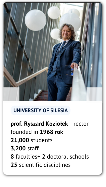 Rector prof. Ryszard Koziołek and our figure and facts: University of Silesia: Founded in 1968 21,000 students 3,200 academic and administrative staff 8 faculties + 2 doctoral schools (25 scientific disciplines)