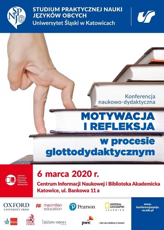 """plakat: konferencja pt. """"Motywacja i refleksja w procesie glottodydaktycznym"""""""