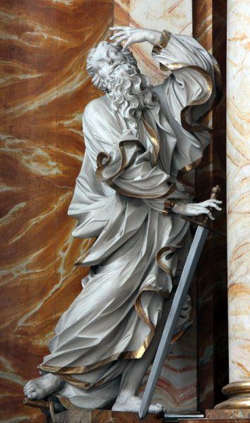 Rzeźba św. Pawła autorstwa Thomasa Weissfeldta z ołtarza głównego w kościele śś. Erazma i Pankracego w Jeleniej Górze