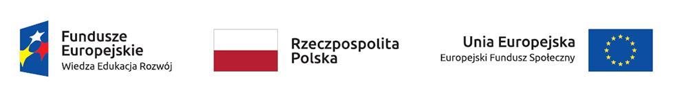 Logotypy: Fundusze Europejskie, Rzeczpospolita Polska, Unia Europejska