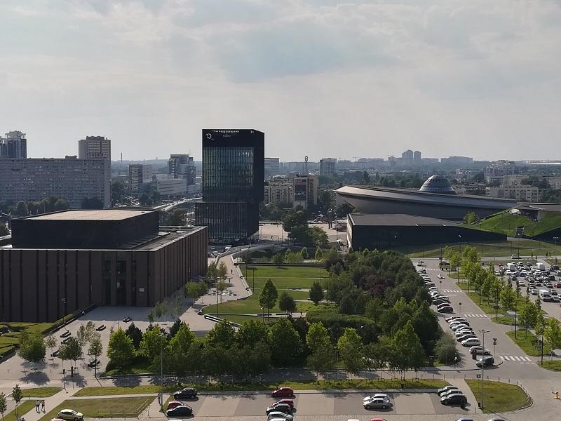 widok na Narodową Orkiestrę Symfoniczną Polskiego Radia (NOSPR), Międzynarodowe Centrum Kongresowe (MCK), Spodek oraz biurowiec KTW I