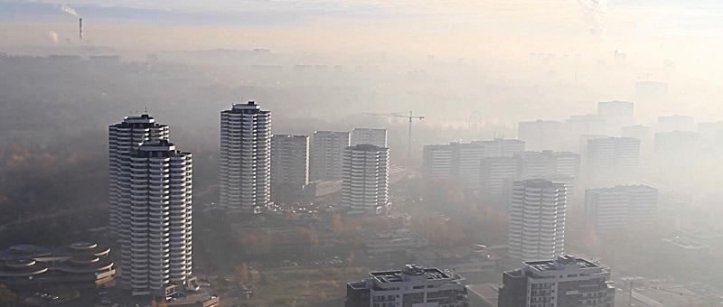 Katowice widziane z kosza balonu (marzec 2017)