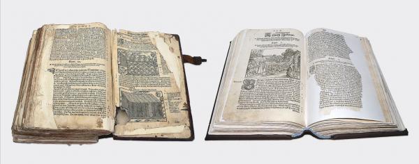 Biblia Leopolity – po lewej: stan sprzed konserwacji, po prawej: stan po konserwacji