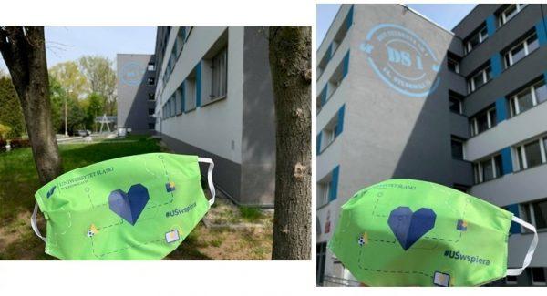 Dwa zdjęcia z maseczkami zaprojektowanymi w ramach akcji #UŚwspiera