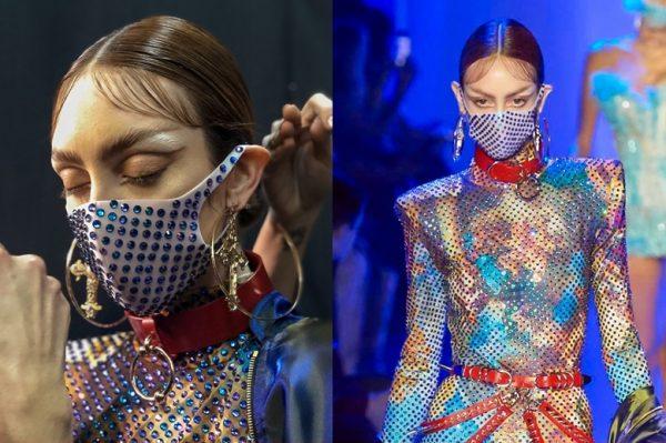 Zdjęcia z pokazu mody New York Fashion Week fall 2020, modelki noszą maseczki zakrywające usta i nos
