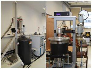 Dwa zdjęcia z laboratorium prezentujące aparaturę do pomiaru różnych właściwości