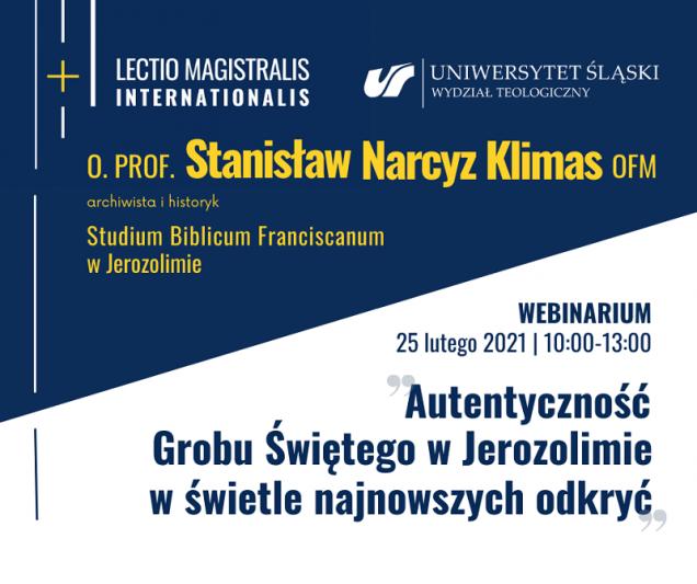 Grafika promująca webinarium o. prof. Stanisława Narcyza Klimasa