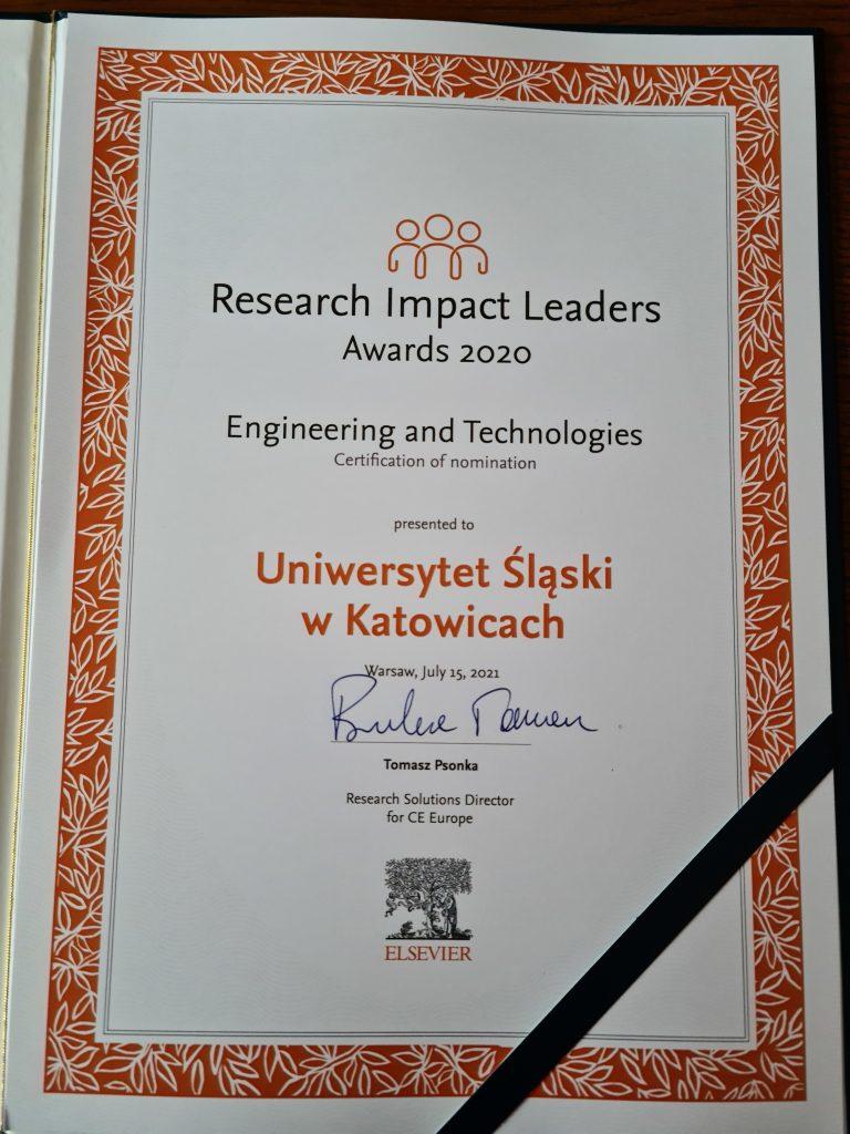 dyplom dla Uniwersytetu Śląskiego w Katowicach