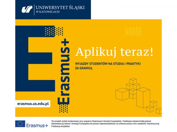 grafika promująca rekrutację na studia i praktyki w ramach programu Erasmus+ 2021/2022