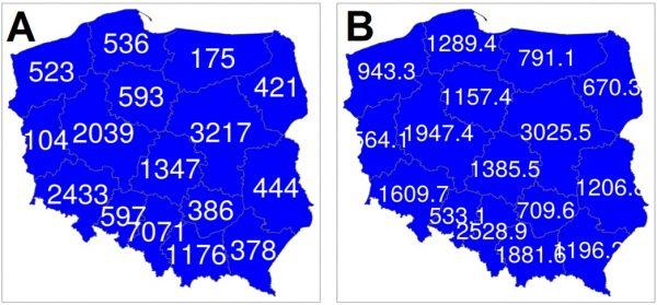 Dwie grafiki prezentujące mapę Polski oraz dane dla każdego województwa: grafika A uwzględnia obserwowaną liczbę zakażeń koronawirusem w każdym województwie, grafika B – oczekiwaną liczbę zarażeń w każdym województwie.