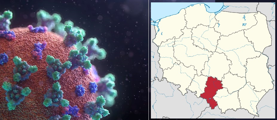 Grafika prezentująca koronawirus oraz mapa Polski z zaznaczonym województwem śląskim