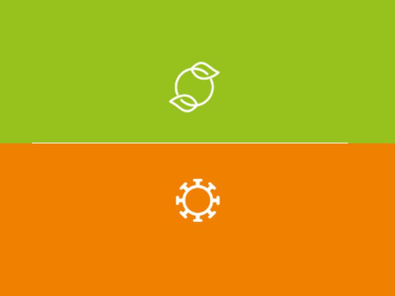 Dwa symbole na zielonym i pomarańczowym tle