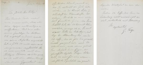 Skan odręcznie napisanego listu na trzech stronach