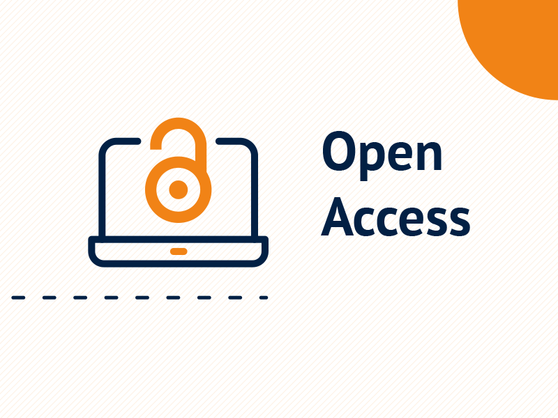 Grafika prezentująca symbol otwartego dostępu (otwarta pomarańczowa kłódka) oraz napis Open Access