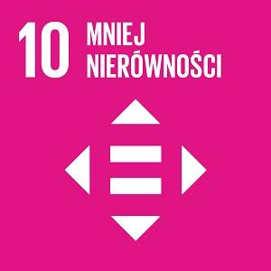 Ikona celu 10 ONZ: napis mniej nierówności na różowym tle