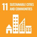 UN Goal 11 icon: sustainable cities and communities on a yellow background