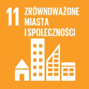 Ikona celu 11 ONZ: zrównoważone miasta i społeczności na żółtym tle