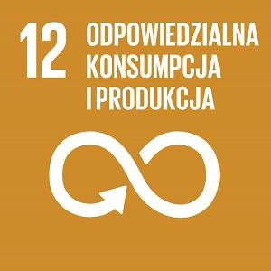 Ikona celu 12 ONZ: odpowiedzialna konsumpcja i produkcja na brązowym tle