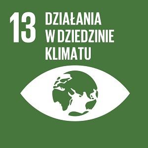 Ikona celu 13 ONZ: napis działania w dziedzinie klimatu na zielonym tle