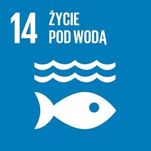 Ikona celu 14 ONZ: napis życie pod wodą na niebieskim tle