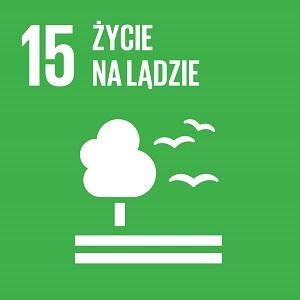 Ikona celu 15 ONZ: napis życie na lądzie na zielonym tle