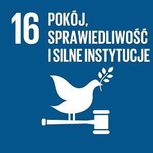 Ikona celu 16 ONZ: napis pokój, sprawiedliwość i silne instytucje na granatowym tle