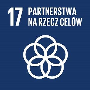 Ikona celu 17 ONZ: napis partnerstwa na rzecz celów na granatowym tle