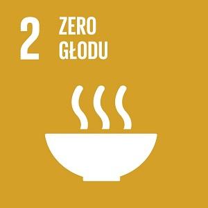 Ikona celu 2 ONZ: napis zero głodu na żółtym tle