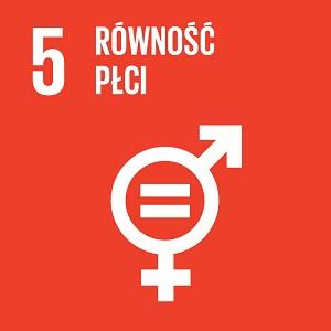 Ikona celu 5 ONZ: napis równość płci