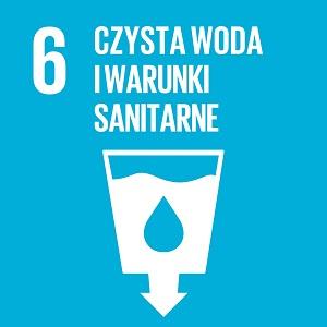 Ikona celu 6 INZ: czysta woda i warunki sanitarne na niebieskim tle