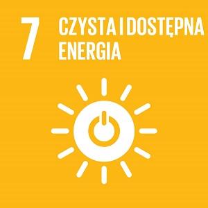 Ikona celu 7 ONZ: napis czysta i dostępna energia na żółtym tle