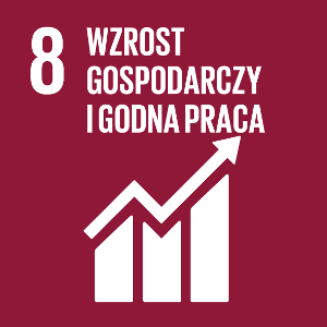 Ikona celu 8 ONZ: napis wzrost gospodarczy i godna pracana bordowym tle