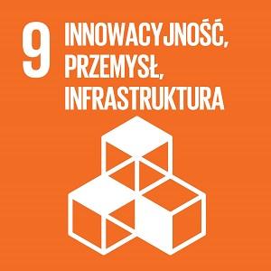 Ikona celu 9 ONZ: napis innowacyjność, przemysł, infrastruktura na pomarańczowym tle