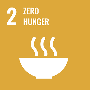 UN Goal 2 icon: the words zero hunger on a yellow background