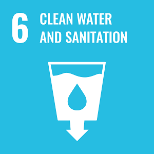 UN Goal 6 icon: the words clean water and sanitation on a blue background