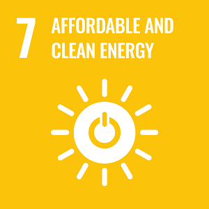 UN Goal 7 icon: the words affordable and clean energy on a yellow background